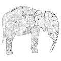 Hand drawn zentangle Elephant with mandala for adult antistress Royalty Free Stock Photo