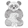 Hand drawn zentangle panda for coloring book for adult,tattoo, shirt design,logo and so on