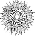 Hand drawn zentangle sunflowers ornament for coloring book