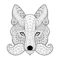 Hand drawn zentangle tribal Fox face for adult anti stress color Royalty Free Stock Photo