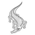 Hand drawn zentangled Crocodile for adult coloring pages
