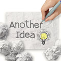 Hand draws another idea light bulb with recycle envelope background as creative concept Stock Image