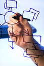 Hand draws  block diagram on  transparent glass Stock Image