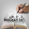 Hand draws a dream house Royalty Free Stock Photos