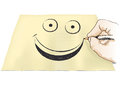Hand that draws a smile illustration of drawing smiling face Royalty Free Stock Images