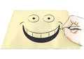 Hand that draws a smile illustration of drawing smiling face Royalty Free Stock Photo