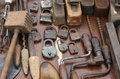Hand drill and rusty padlocks and TOOLS Royalty Free Stock Photo