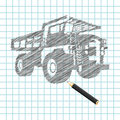 Hand-drown cargo truck sketch Stock Image