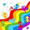 Hand drown children silhouettes in rainbow colors colored Stock Image