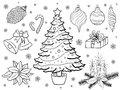 Hand drown christmas elements vector set of Royalty Free Stock Image