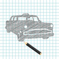 Hand-drown taxi car sketch Stock Photography