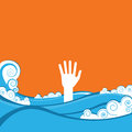 Hand of drowning in blue sea waves vector illustration Stock Image