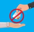 Hand of drug dealer gives bag with narcotics