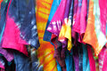 Hand dyed clothes variety of brightly colored for sale Stock Images
