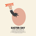 Hand through an egg easter day concept illustration Royalty Free Stock Images
