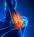Hand elbow pain male front view Royalty Free Stock Image