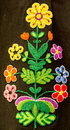 Hand embroidery in the form of colorful flowers on a woman`s skirt. Traditional crafts of Bulgaria Royalty Free Stock Photo