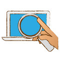 hand examining computer with magnifying glass icon image Royalty Free Stock Photo