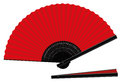 Hand fan open closed red black an and spanish style three dimensional realistic vector illustration on white background Stock Photo