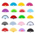 Hand fan vector traditional Japanese accessory and Chinese decoration folding handheld-fan illustration set of open