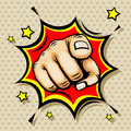 Hand with finger pointing vector illustration in pop art style Royalty Free Stock Photo