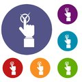 Hand finger pressing button with tick icons set Royalty Free Stock Photo