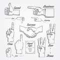 Hand and finger sign doodle drawn on chalkboard background vector vintage style Royalty Free Stock Photos