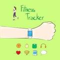 Hand fitness tracker wrist sport bracelet woman