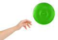 Hand and flying disc Royalty Free Stock Photo