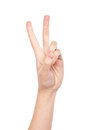 Hand forming victory sign isolated on white background Royalty Free Stock Image
