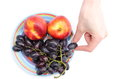 Hand and fruits on colorful plate with grapes nectarines the color isolated white background Royalty Free Stock Image
