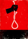 Hand and gallows red black poster with Royalty Free Stock Image