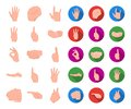 Hand gesture cartoon,flat icons in set collection for design. Palm and finger vector symbol stock web illustration.