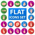 Hand gesture flat icons in set collection for design. Palm and finger vector symbol stock web illustration.