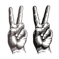Hand gesture peace sign, symbol. Sketch vector illustration Royalty Free Stock Photo
