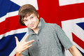 Hand gesture teen with union jack flag Royalty Free Stock Photography