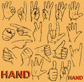Hand gestures drawing on paper image of hands with different Stock Image