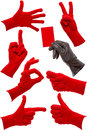 Hand gestures in a red and black glove Royalty Free Stock Photo