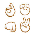 Hand Gestures Set People Emotion Icon Collection