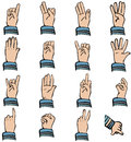 Hand gestures various and finger counting Stock Photography