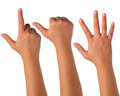 Hand gesturing signs on isolation Royalty Free Stock Images