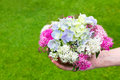 Hand giving bouquet of summer flowers in vase Royalty Free Stock Photo