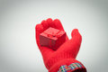 Hand giving red box with present Royalty Free Stock Image