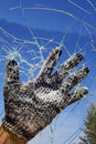 Hand  glass  hole  destruction  barrier Stock Photography