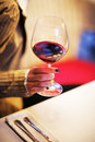 Hand glass red wine Royalty Free Stock Photography