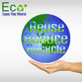 Hand and globe reuse reduce recycle eco concept Royalty Free Stock Photo