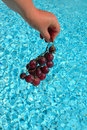 Hand with grapes over water Royalty Free Stock Photography