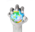 Hand grasp small grobe in control concept Stock Images