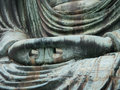 The hand of great buddha (Daibutsu) close up shot, Kamakura, Jap Royalty Free Stock Photo