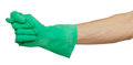 Hand in green rubber glove shows fig sign